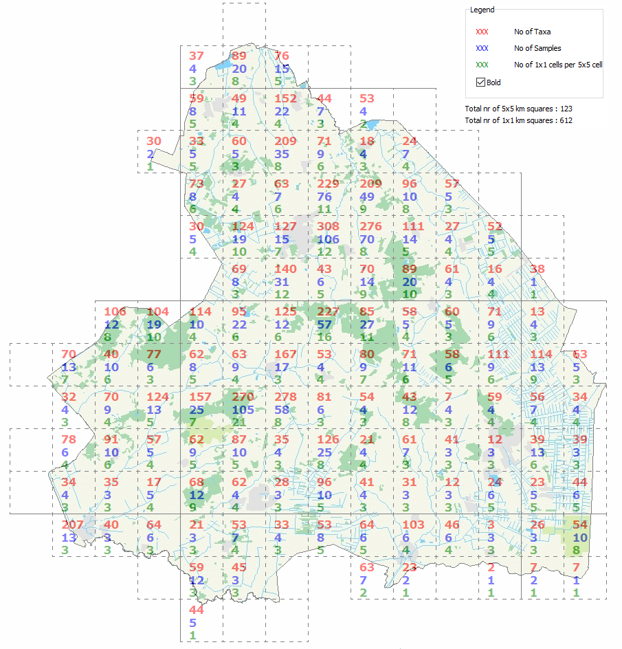 Data on 5x5 km squares